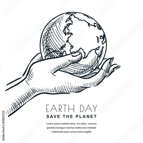 Fotografía  Earth Day vector sketch illustration