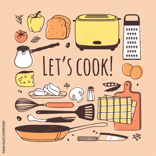 Poster Cuisine Hand drawn illustration cooking tools, dishes, food and quote. Creative ink art work. Actual vector drawing. Kitchen set and text LET'S COOK