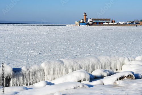 Vladivostok, Amur Bay in winter near the beach