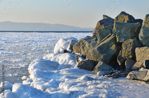 Russia. Vladivostok. Winter evening in Amur bay