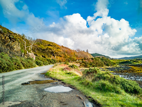 Fotografie, Obraz  Single track road next to Loch Dunvegan in autumn, Isle of Skye, Scotland