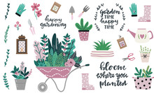 Set Of Tools And Equipment For Gardening In Cute Hand Drawn Style. Garden Elements: Wheelbarrow, Spade, Watering Can, Flowers, Garden Gloves, Flowerpots, Grass And Leaves. Spring Time Vector Drawing