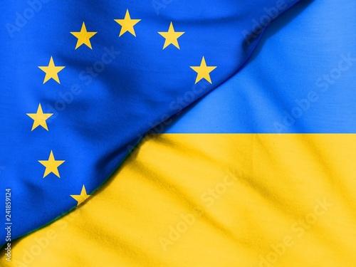 Fotografie, Obraz  Two flags. Flag of the European Union. Flag of Ukraine.