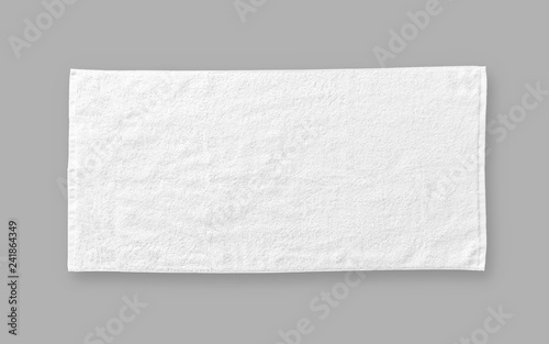 Fényképezés White cotton towel mock up template fabric wiper isolated on grey background wit