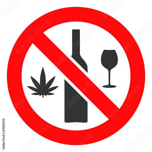 Canvas Print Forbidden wine drugs vector icon symbol
