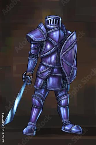 Fantasy Sword And Shield Warrior Art