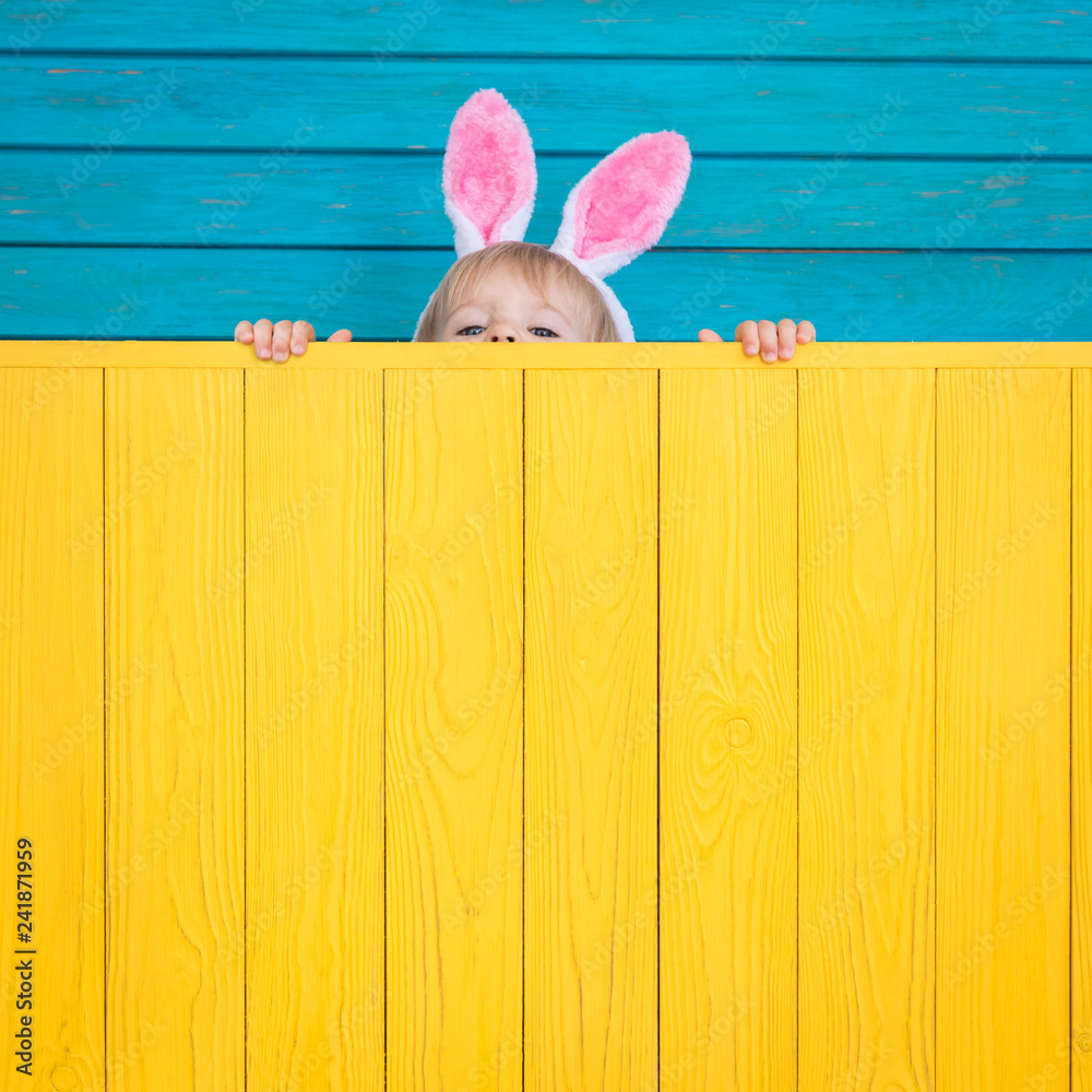 Fototapety, obrazy: Funny kid wearing Easter bunny