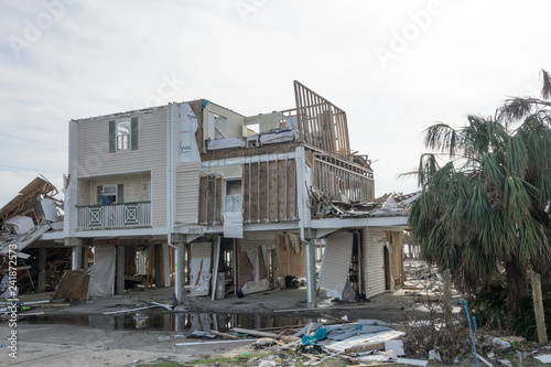 Photo Missing Roof and Walls of Apartment on Gulf Coast in the Aftermath of Hurricane