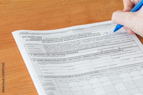 Fotografia  Filling polish peper tax form PIT-28/PIT-28S.