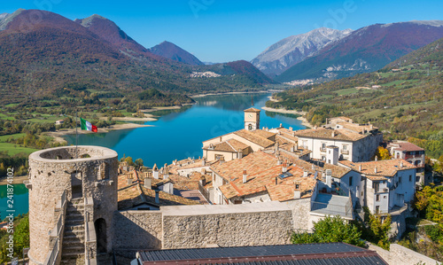 Panoramic view in Barrea, province of L'Aquila in the Abruzzo region of Italy Canvas Print