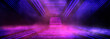 canvas print picture - Background of an empty dark room. Empty walls, neon light, smoke, glow