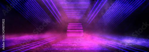 Background of an empty dark room. Empty walls, neon light, smoke, glow - 241875922