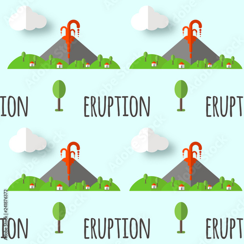 Fotografie, Obraz  Vector seamless pattern volcanic eruption