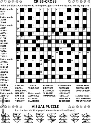 Puzzle Page With Two Puzzles 19x19 Criss Cross Kriss Kross Fill In The Blanks Crossword Word Game English Language And Abstract Visual Puzzle Black And White A4 Or Letter Sized Buy This Stock