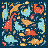 Fototapeta Dinusie - Illustration of cute dinosaurs with tropical leaves. Hand drawn vector pattern. Cute dino design for kids