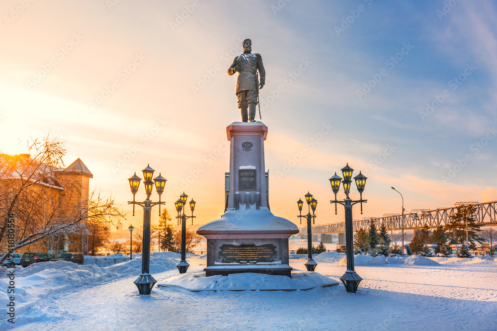 Fototapety, obrazy: Monument to the Russian Emperor Alexander the Third. Novosibirsk, Russia