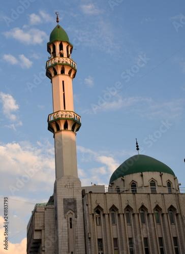 Fotografia  Moschee mit grüner Kuppel und hohem Minarett vor strahlend blauem Himmel