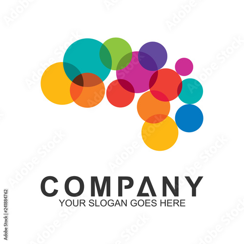 Fotografering  colorful brain logo design, creative mind symbol