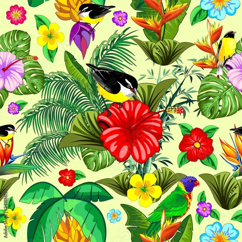 Tuinposter Draw Birds and Nature Floral Exotic Seamless Pattern Vector Design