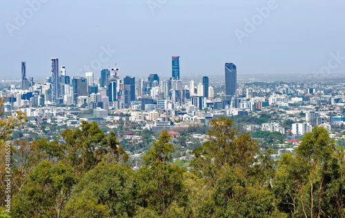 View from Mount Coot-tha of the Brisbane, Australia central business district and surrounding suburbs