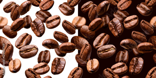 Poster Café en grains Coffee beans seamless pattern, isolated on white and black background