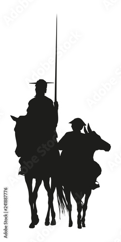 Photo Vector Ilustration silhouette of Don Quixote de la Mancha, of Cervantes spanish
