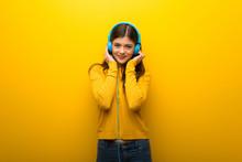 Teenager Girl On Vibrant Yello...