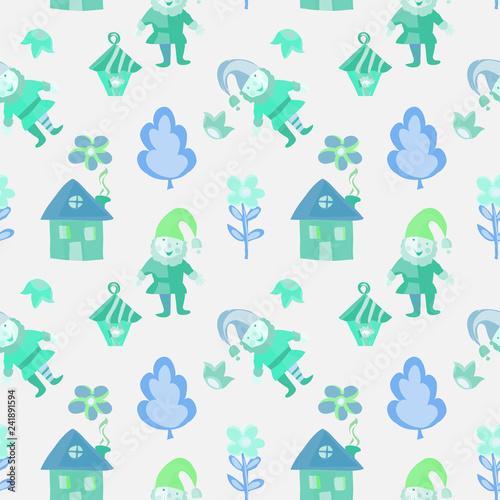 Fotografie, Obraz  Funny colorful gnome wirh house, lantern,flowers seamless pattern for kids