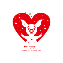Heart Shape With Joyful Pig And Small Hearts. Vector Illustration By Valentine's Day