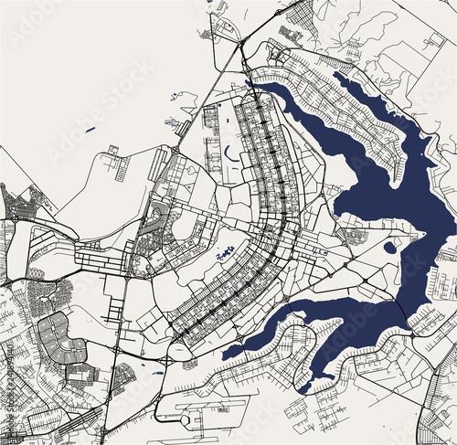 Fototapeta map of the city of Brasilia, capital of Brazil