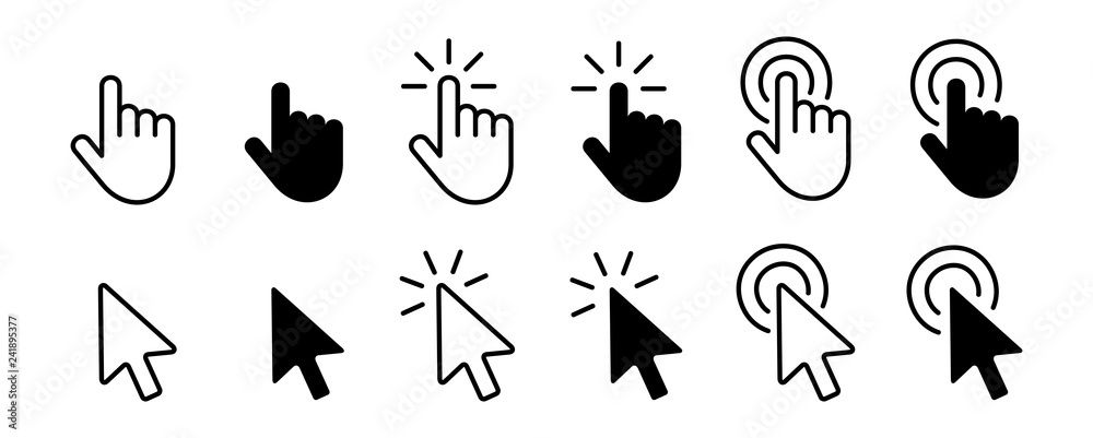 Fototapety, obrazy: Set of Hand Cursor icons click and Cursor icons click. Isolated on White background