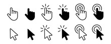Set Of Hand Cursor Icons Click And Cursor Icons Click. Isolated On White Background