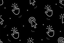 Seamless Pattern With Hand Cursor And Cursor Icons. Isolated On Black Background