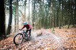 Sport extrême vtt de descente dans les bois en automne