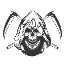Vintage Monochrome Reaper Skul...