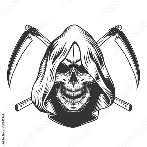 Vintage monochrome reaper skull in hood Canvas Print