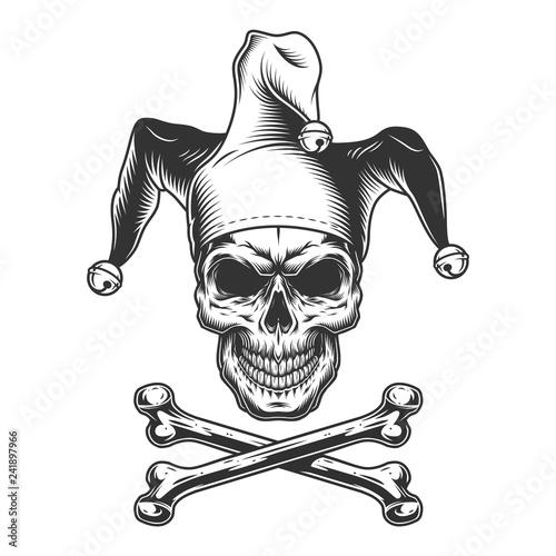 Vintage monochrome jester skull Fotobehang