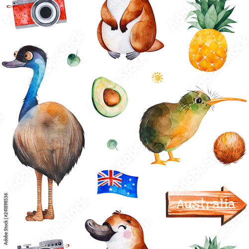 Travel watercolor seamless pattern with Australian animals,fruits,flag,camera and more. Perfect for wallpaper,print,packaging,invitations,packaging,cover design,travel etc