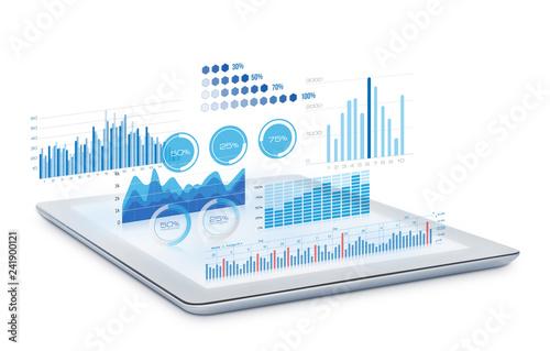 Fotografía  Charts and graphs on digital tablet