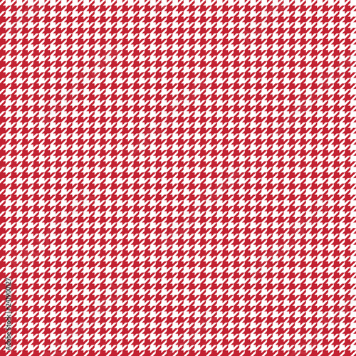 Houndstooth Seamless Pattern - Classic red and white houndstooth texture Wallpaper Mural