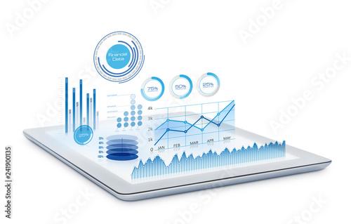 Fotografie, Obraz  Futuristic charts on digital tablet
