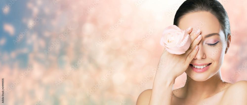 Fototapeta Brunette beauty in light makeup.
