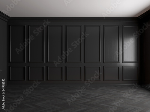 Fototapeta  3d render of dark interior with panels on wall 8k