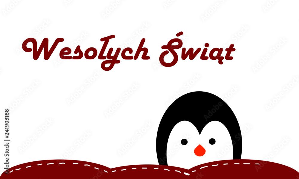 Fototapeta Życzenia Wesołych Świąt na kartce świątecznej, etykieta  z życzeniami