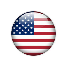 United States Of America Flag On Button.  Vector