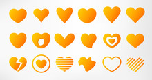 Hearts Set Isolated On White Background. Simple Modern Design. Icons, Signs Or Logos. Yellow, Gold Color. Objects To The Valentine's Day. Flat Style Vector Illustration.