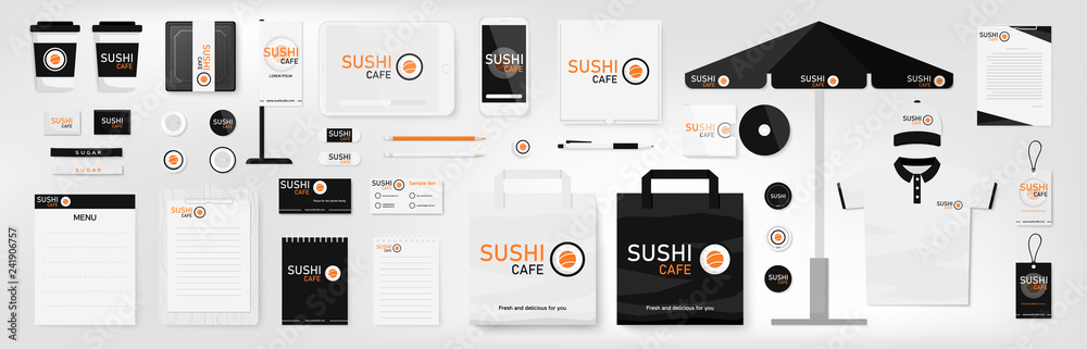 Fototapeta Corporate identity template set. Sushi cafe. Orange, black and white color branding mock up. Simple realistic business stationery design. Logo template for company. Flat style vector illustration.