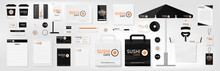 Corporate Identity Template Set. Sushi Cafe. Orange, Black And White Color Branding Mock Up. Simple Realistic Business Stationery Design. Logo Template For Company. Flat Style Vector Illustration.