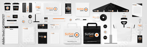 Fototapeta Corporate identity template set. Sushi cafe. Orange, black and white color branding mock up. Simple realistic business stationery design. Logo template for company. Flat style vector illustration. obraz