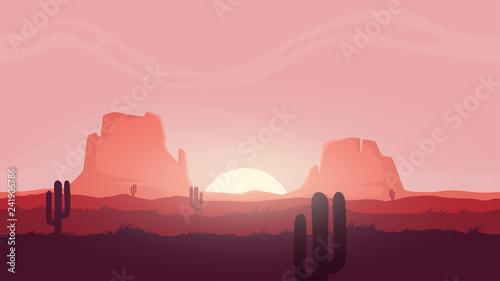 Seamless desert landscape Fototapeta